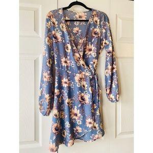 Floral Plunging Neck & Tie Waste Dress - Worn Once